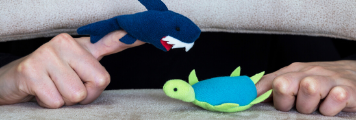 shark and turtle finger puppets