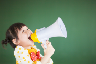 girl shouting in loud speaker