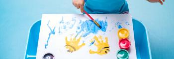 Child enjoying art